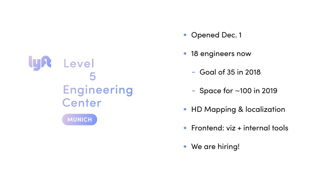 • Opened Dec. 1 • 18 engineers now - Goal of 35...