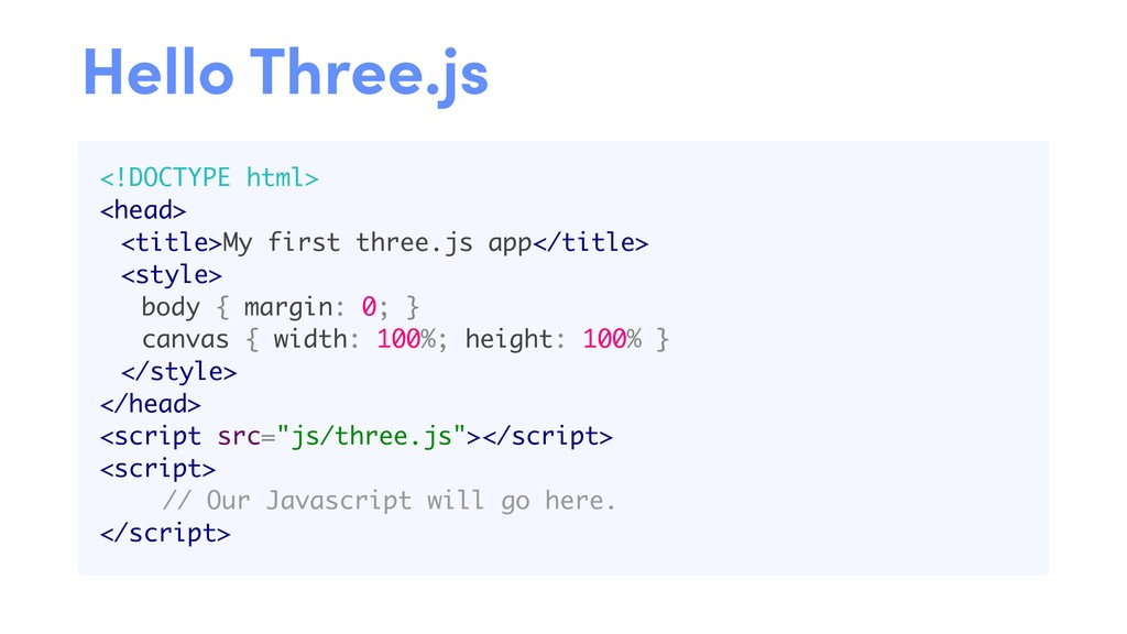 <!DOCTYPE html> <head> <title>My first three.js...