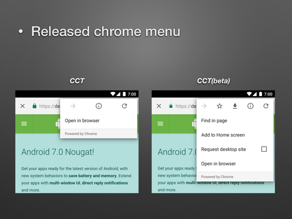 • Released chrome menu CCT CCT(beta)