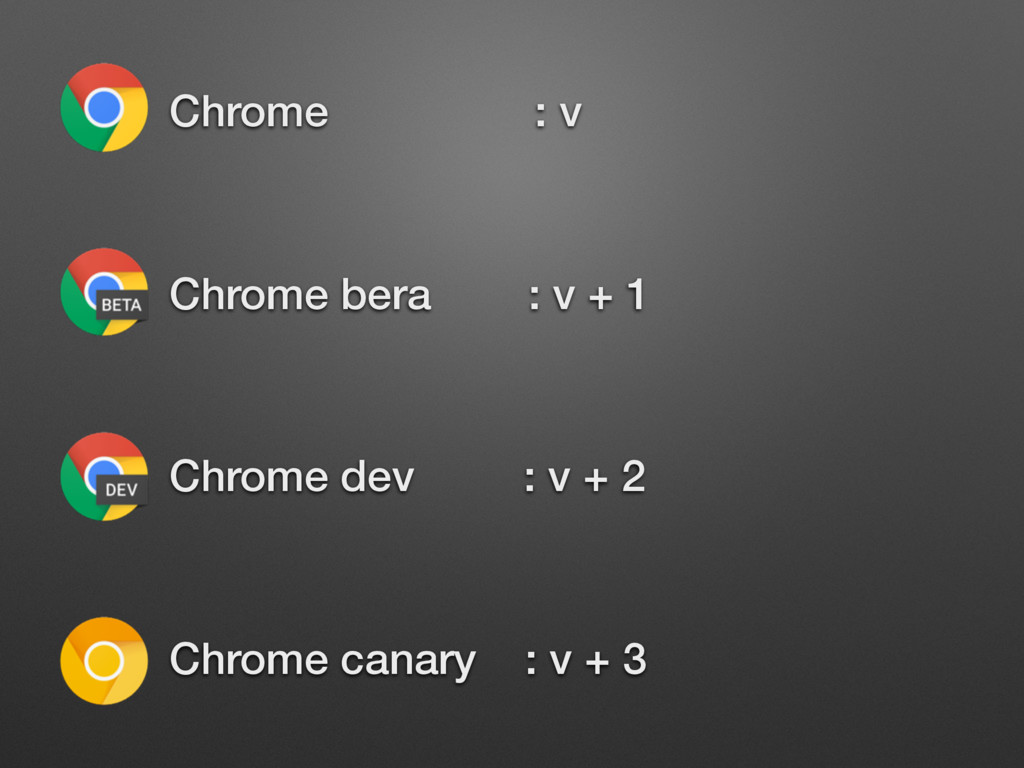 • Chrome : v • Chrome bera : v + 1 • Chrome dev...