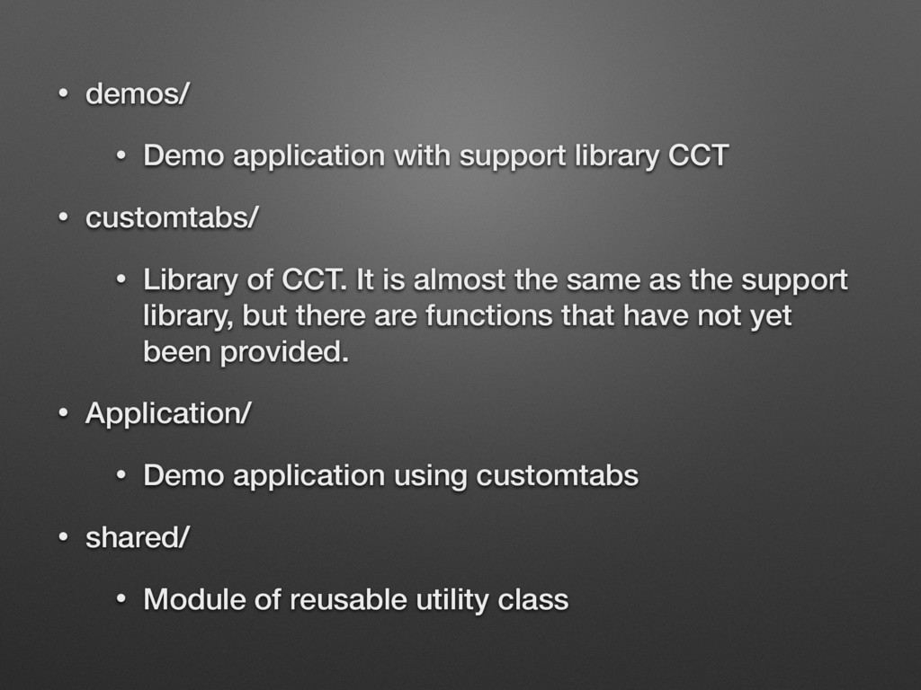 • demos/ • Demo application with support librar...