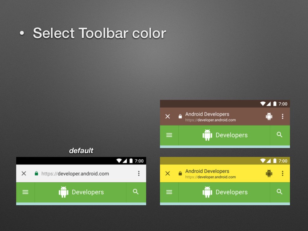 • Select Toolbar color default