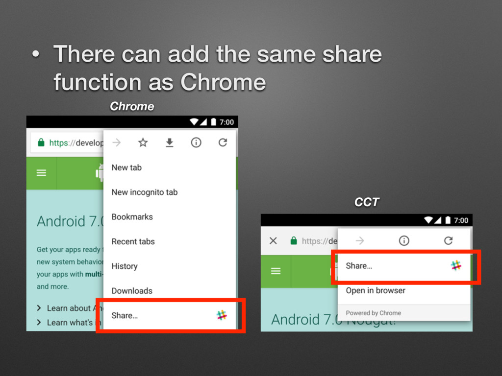 • There can add the same share function as Chro...