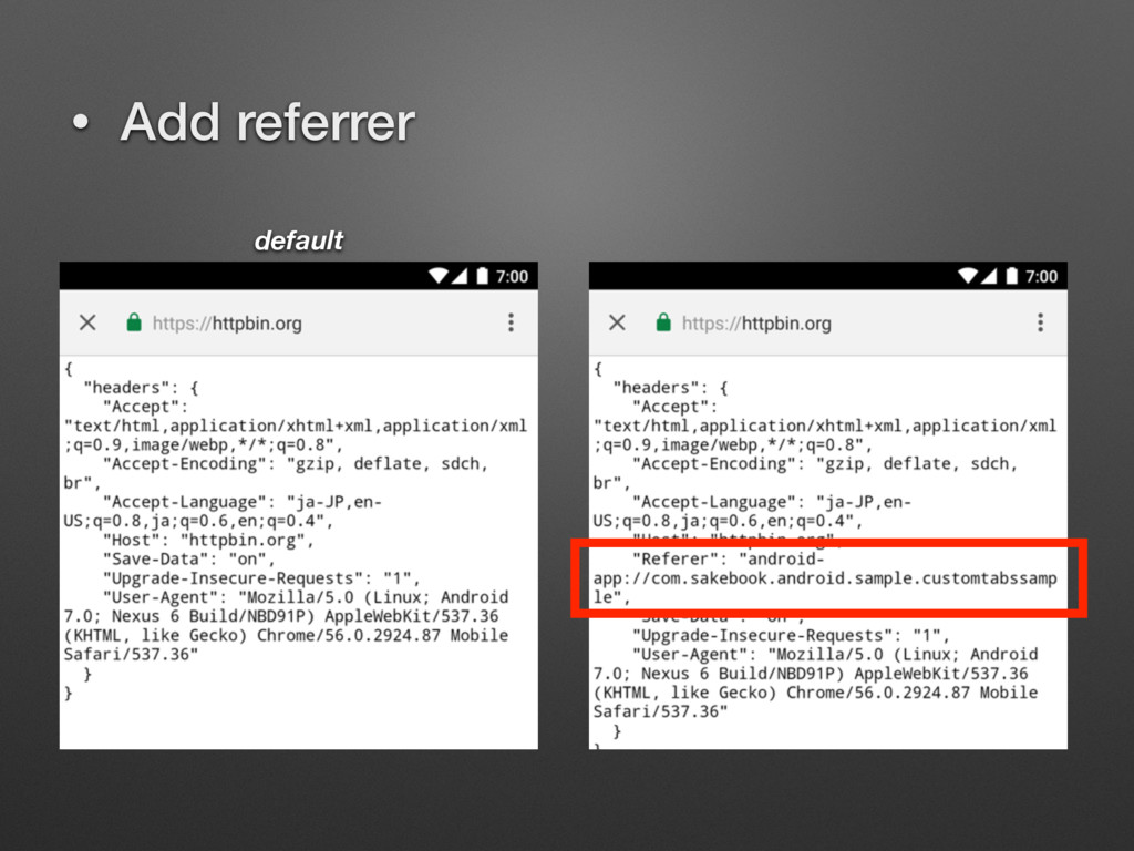 • Add referrer default