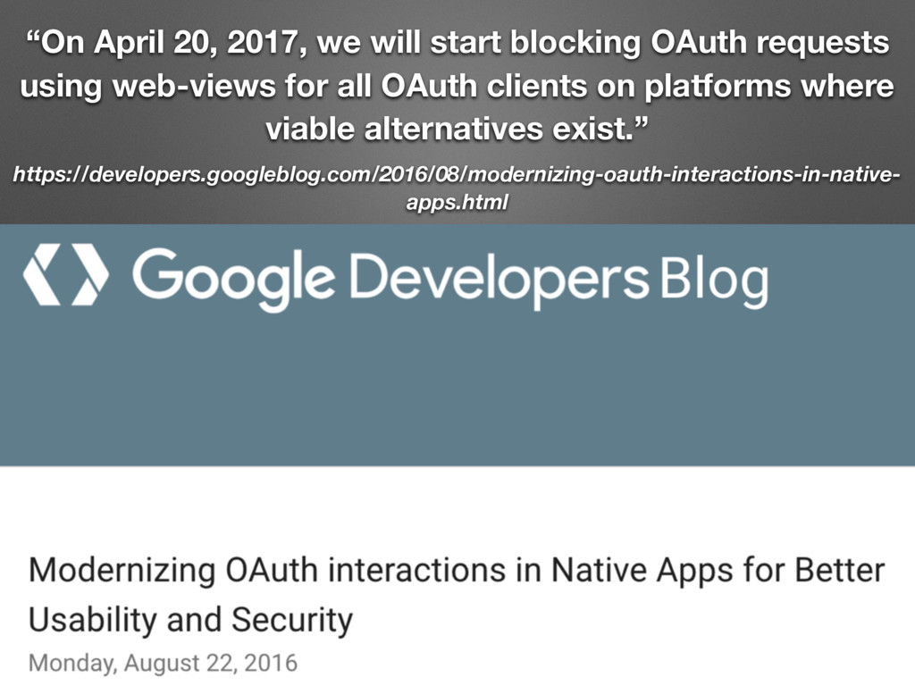 """On April 20, 2017, we will start blocking OAut..."