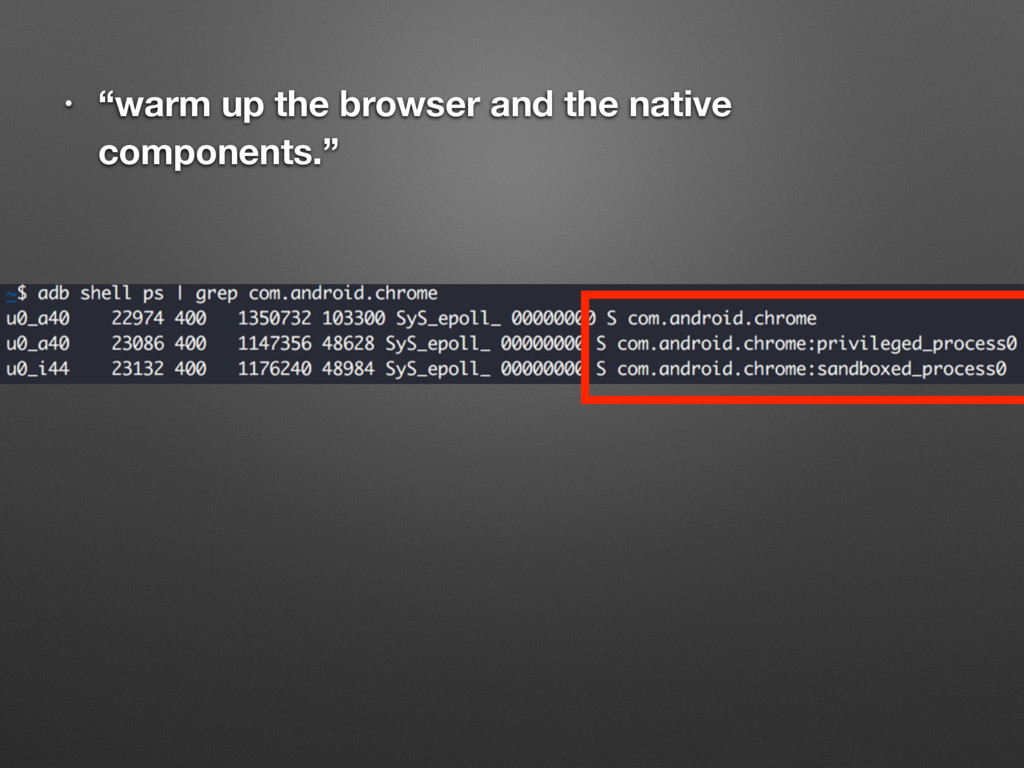 "• ""warm up the browser and the native component..."