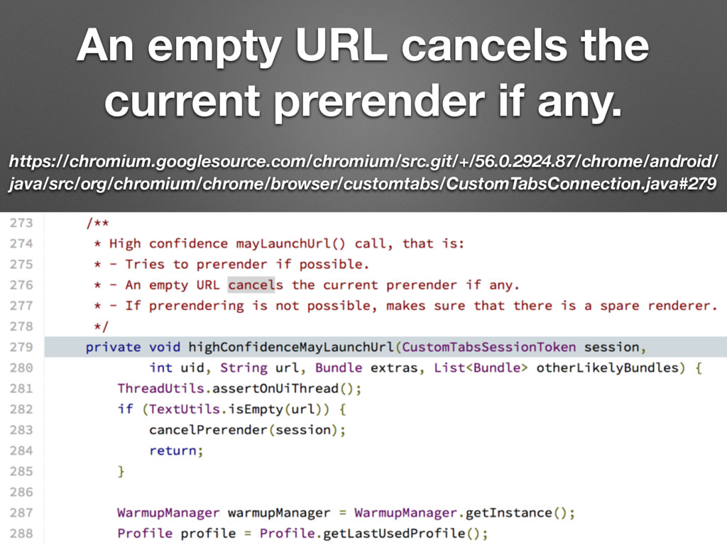 An empty URL cancels the current prerender if a...