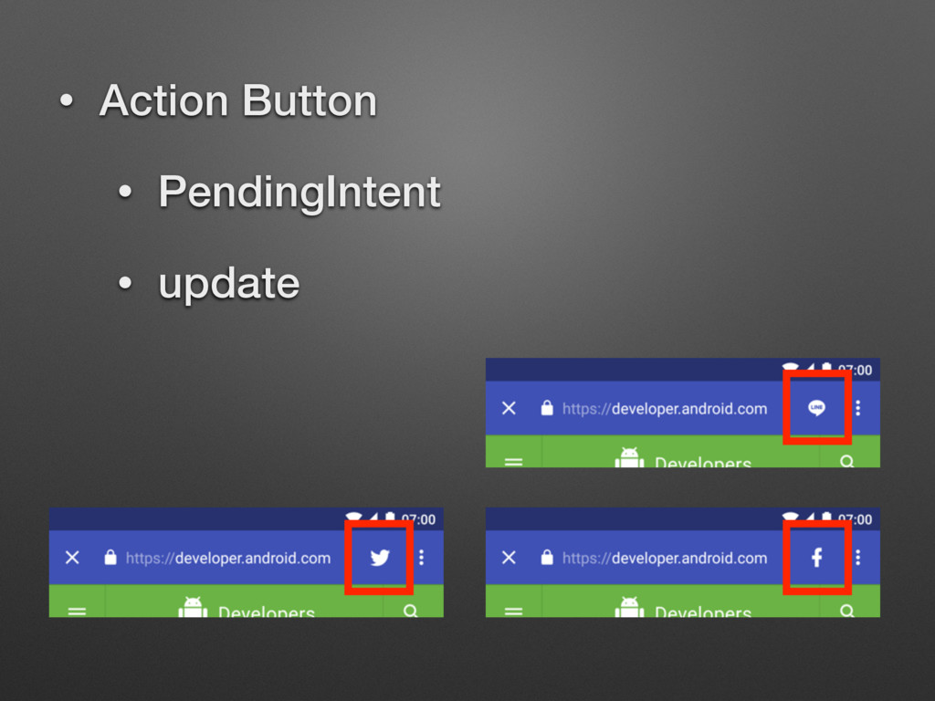 • Action Button • PendingIntent • update