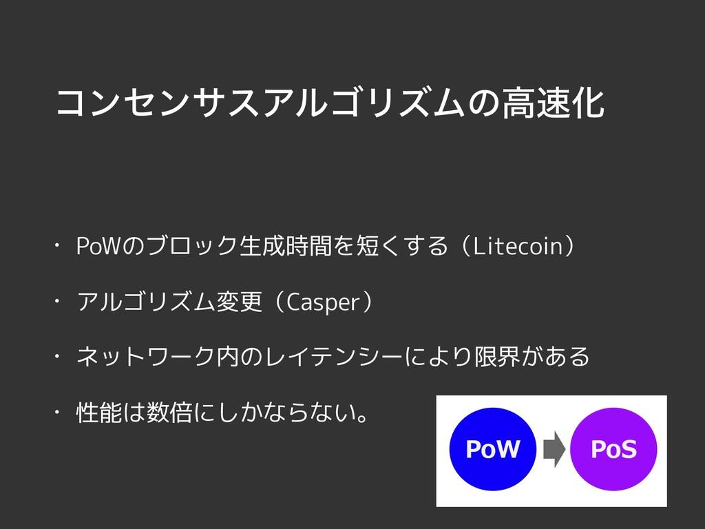ίϯηϯαεΞϧΰϦζϜͷߴԽ • PoWのブロック生成時間を短くする(Litecoin) ...