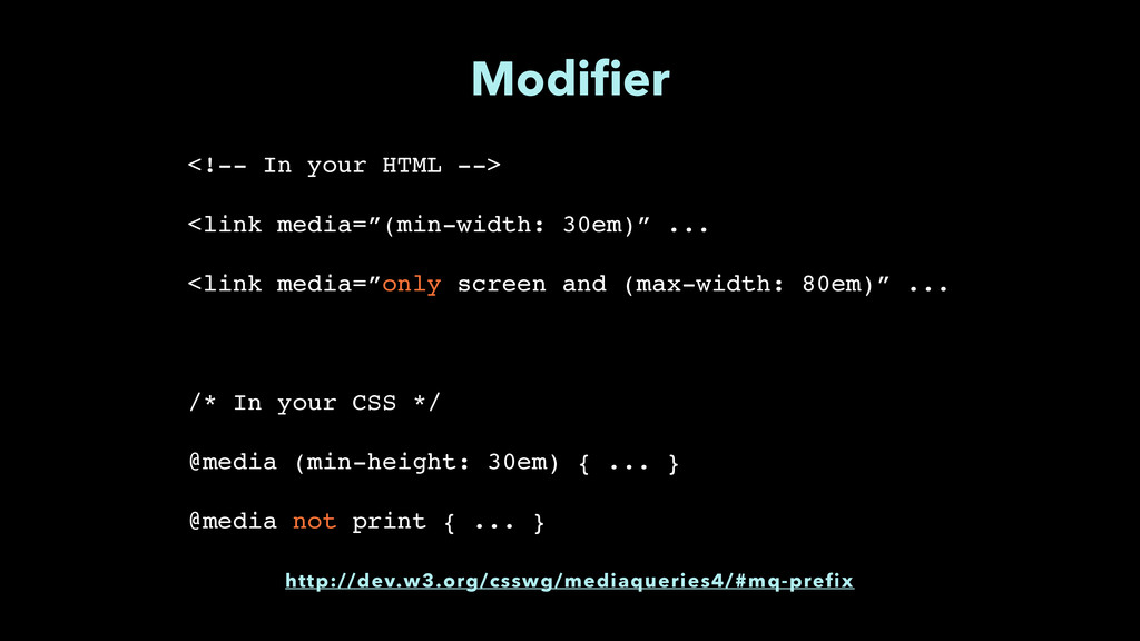 """Modifier <!-- In your HTML -->"""" ! <link media=""""(..."""