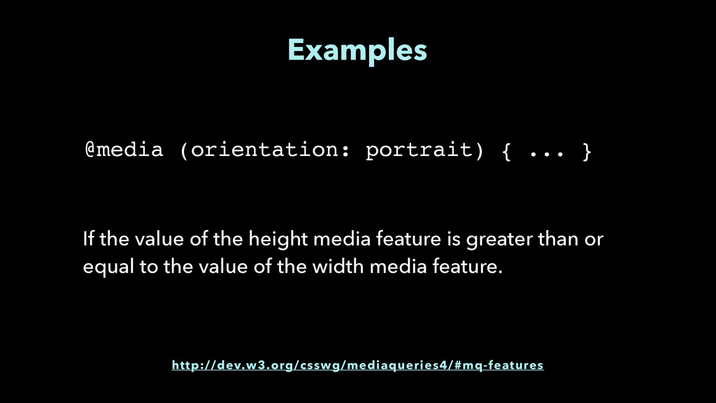 Examples If the value of the height media featu...
