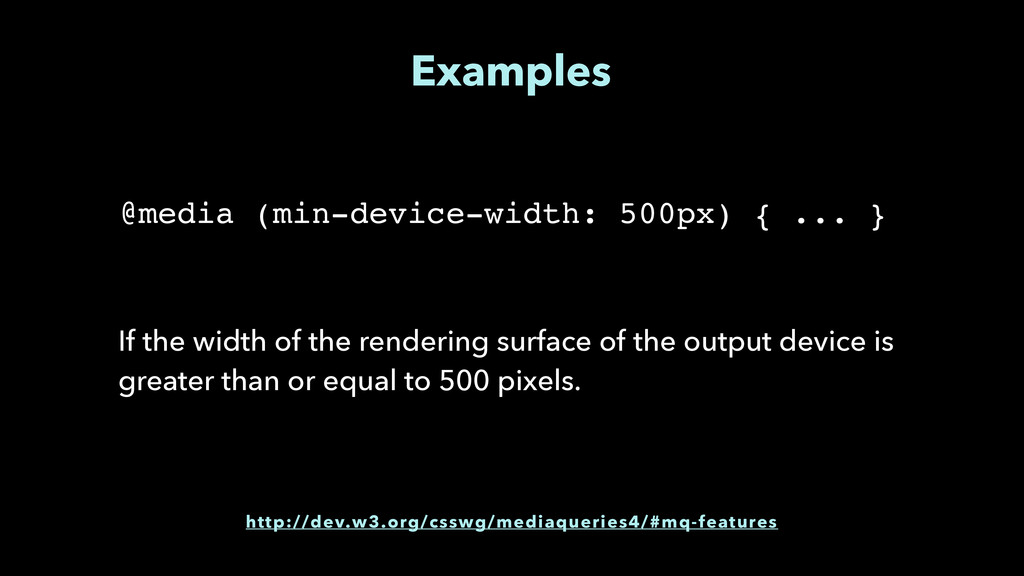 Examples If the width of the rendering surface ...
