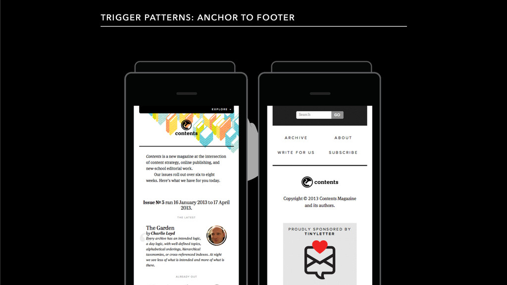 TRIGGER PATTERNS: ANCHOR TO FOOTER