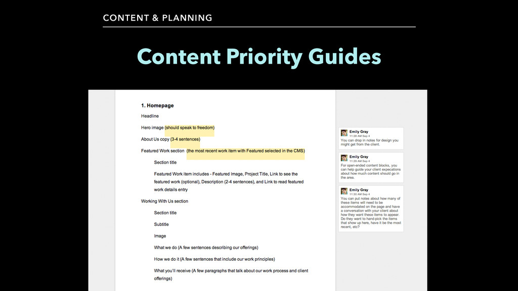 CONTENT & PLANNING Content Priority Guides