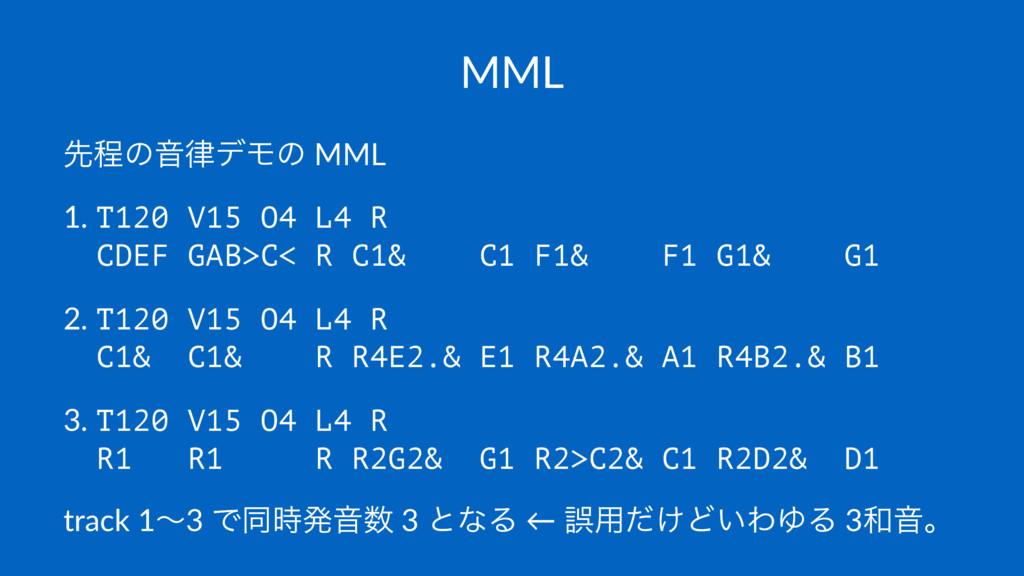 MML ઌఔͷԻσϞͷ MML 1. T120 V15 O4 L4 R CDEF GAB>C...