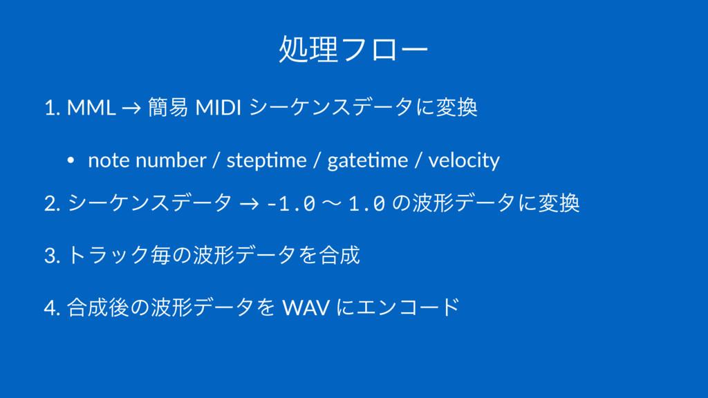 ॲཧϑϩʔ 1. MML → ؆қ MIDI γʔέϯεσʔλʹม • note numbe...