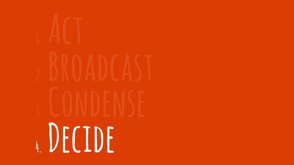 2. Broadcast 1. Act 3. Condense 4. Decide