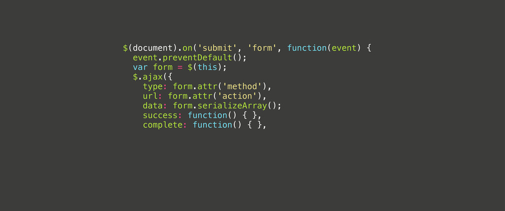 $(document).on('submit', 'form', function(event...