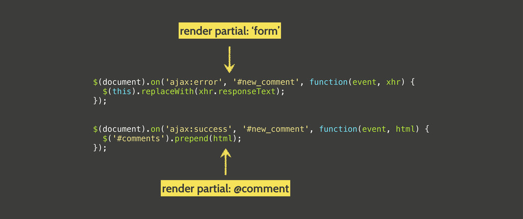 $(document).on('ajax:error', '#new_comment', fu...