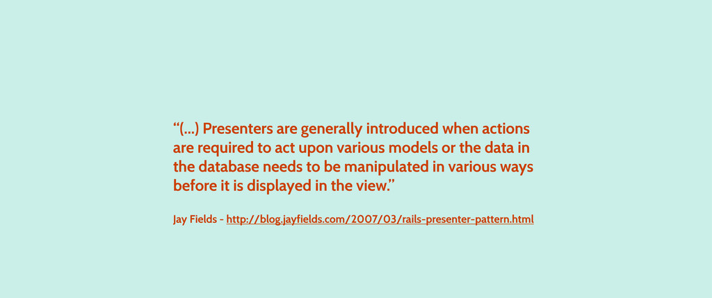 """""""(...) Presenters are generally introduced when..."""