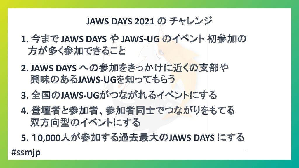 JAWS DAYS 2021 の チャレンジ 1. 今まで JAWS DAYS や JAWS-...