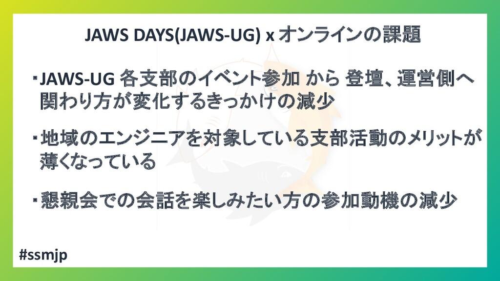 JAWS DAYS(JAWS-UG) x オンラインの課題 ・JAWS-UG 各支部のイベント...