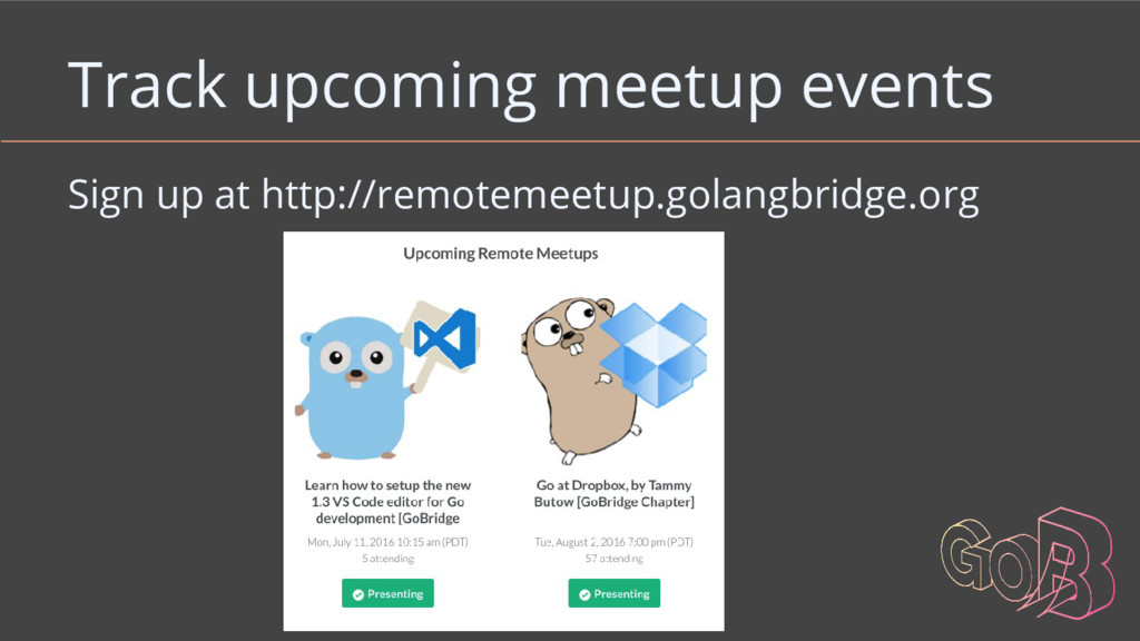Track upcoming meetup events Sign up at http://...