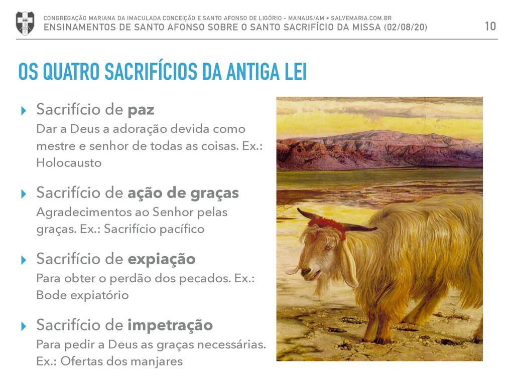 OS QUATRO SACRIFÍCIOS DA ANTIGA LEI ▸ Sacrifíci...