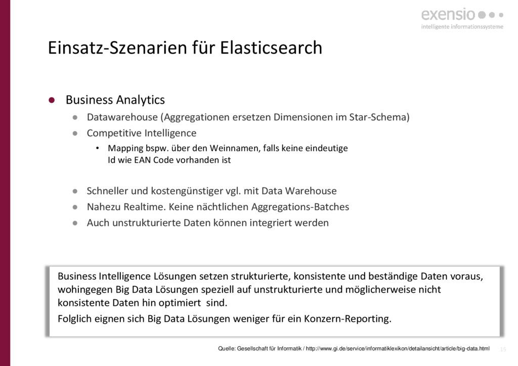 15 Einsatz-Szenarien für Elasticsearch ● Busine...