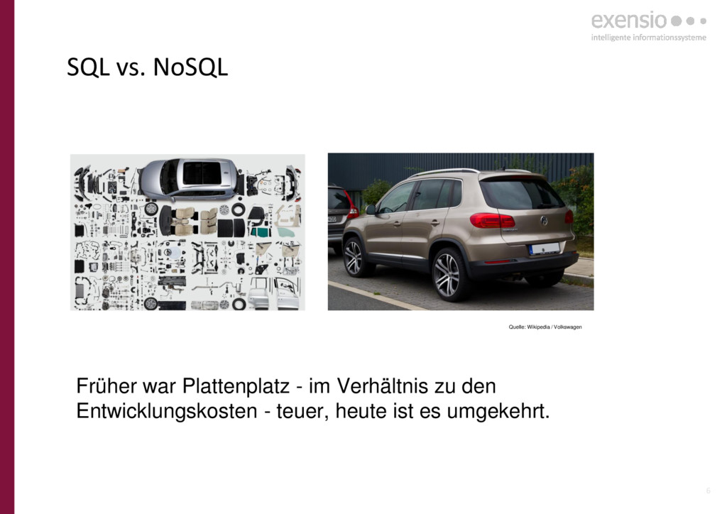 6 SQL vs. NoSQL Quelle: Wikipedia / Volkswagen ...