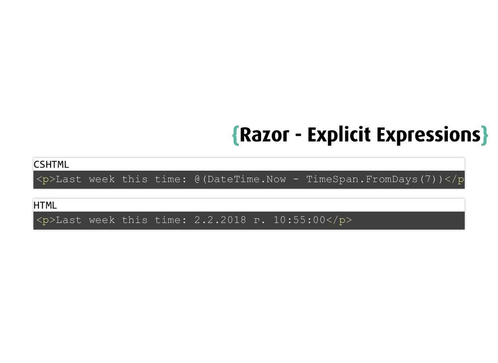 { {Razor - Explicit Expressions Razor - Explici...