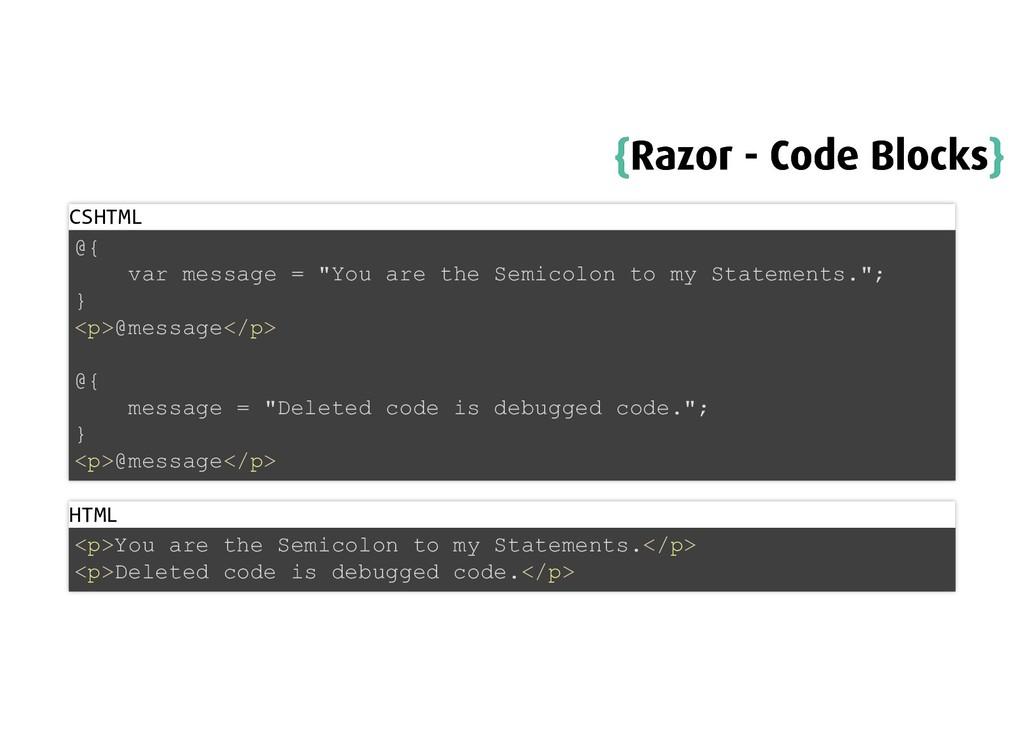 { {Razor - Code Blocks Razor - Code Blocks} } C...