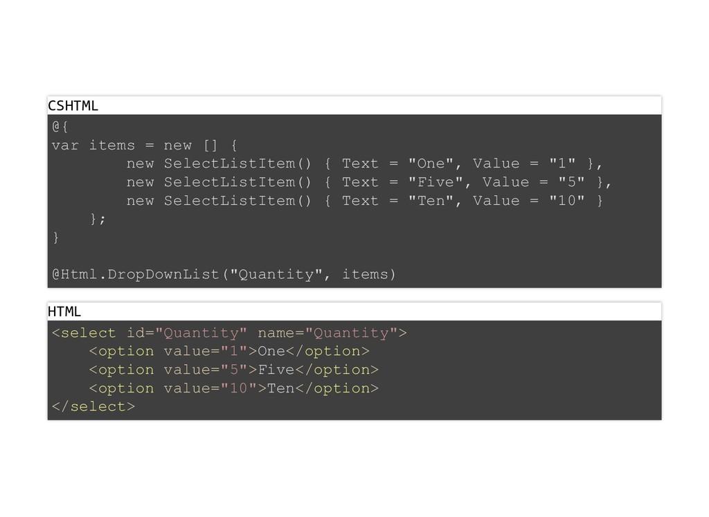 CSHTML @{ var items = new [] { new SelectListIt...