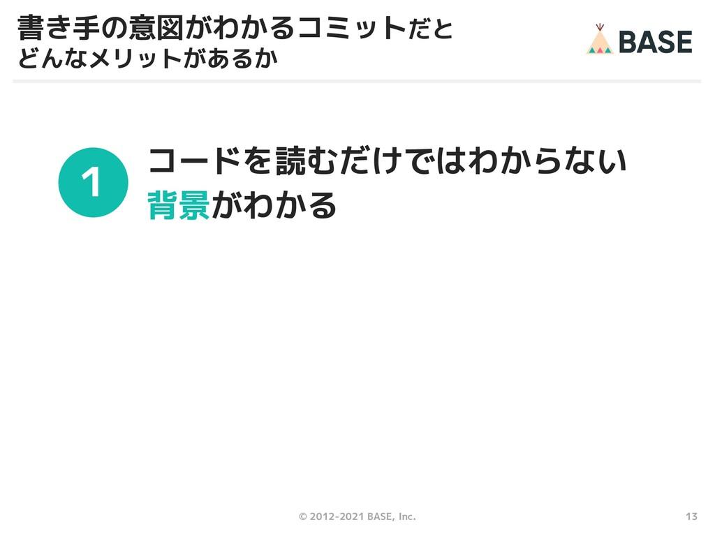 13 © 2012-2021 BASE, Inc. 書き手の意図がわかるコミットだと どんなメ...