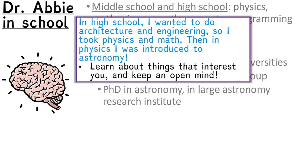 •Middle school and high school: physics, earth ...