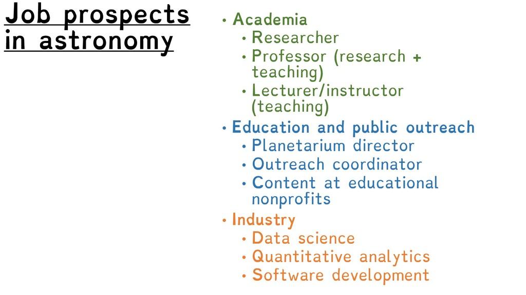 Job prospects in astronomy • Academia • Researc...