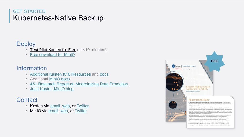 GET STARTED Kubernetes-Native Backup Deploy • T...