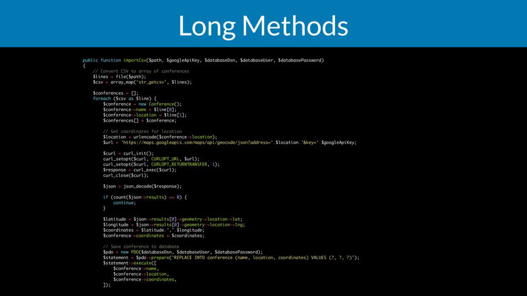 Long Methods public function importCsv($path, $...