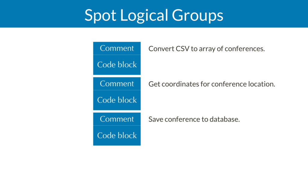 Spot Logical Groups Code block Comment Code blo...
