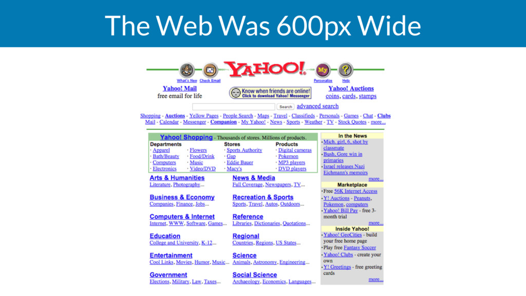 The Web Was 600px Wide