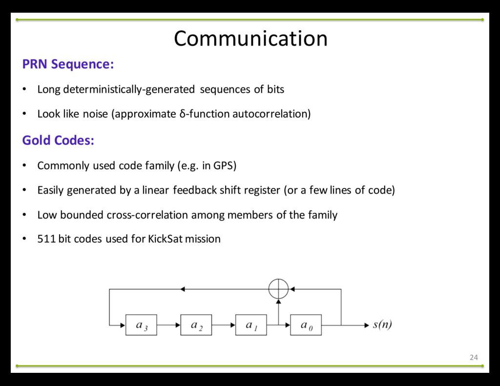 Communication 24 PRN Sequence: • Long det...