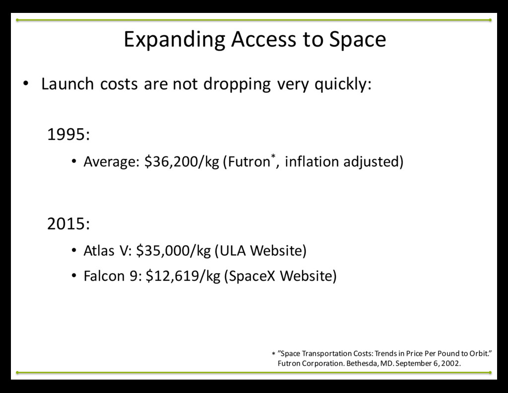 • Launch costs are not dropping ...
