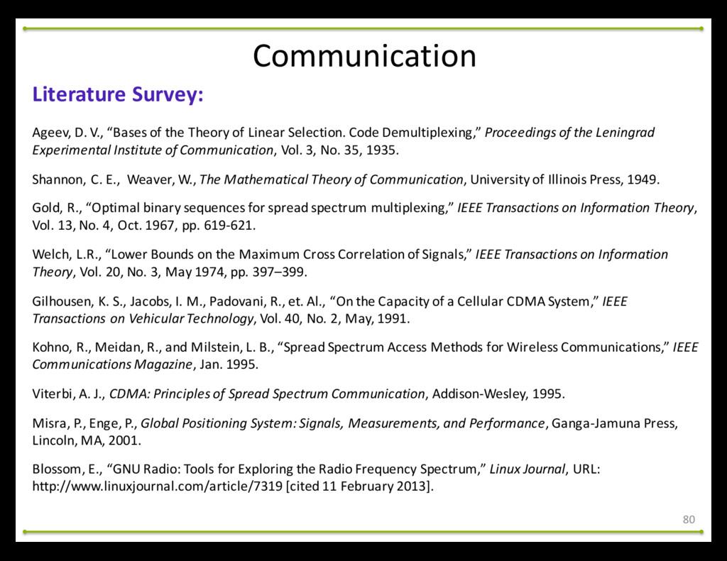 80 Literature Survey: Ageev, D. V., ...