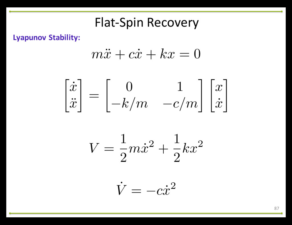 Flat-‐Spin Recovery 87 Lyapunov Stability: ...