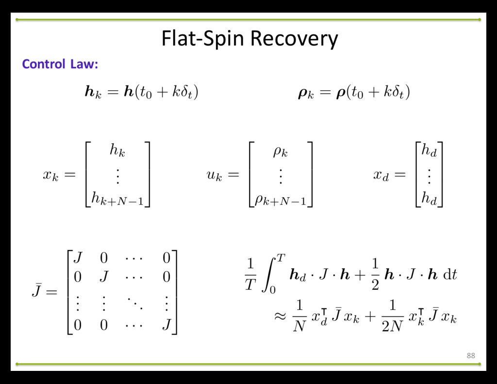 Flat-‐Spin Recovery 88 Control Law: hk =...