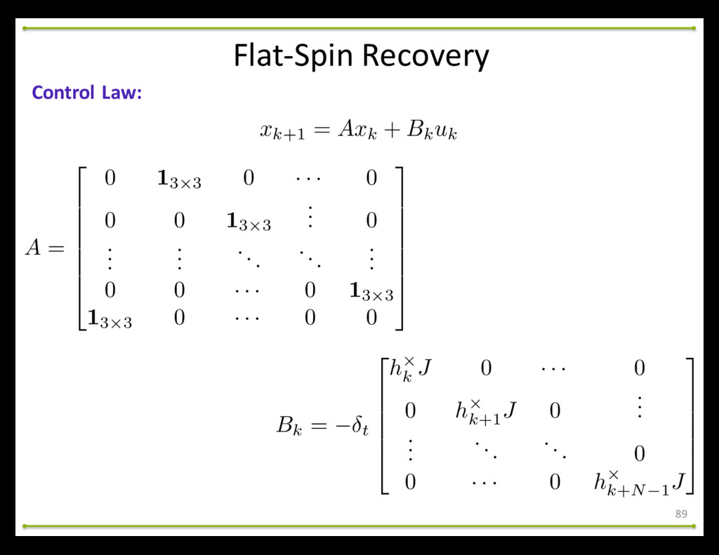 Flat-‐Spin Recovery 89 Control Law: xk+1...