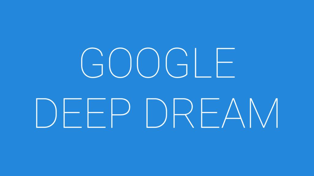 GOOGLE DEEP DREAM