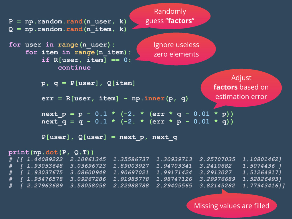 P = np.random.rand(n_user, k) Q = np.random.ran...