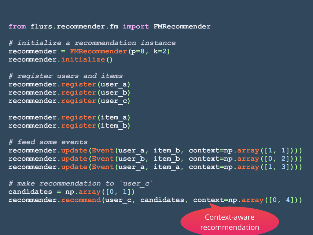 from flurs.recommender.fm import FMRecommender ...