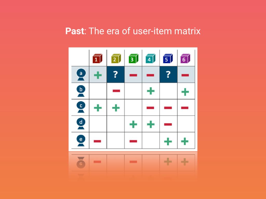 Past: The era of user-item matrix